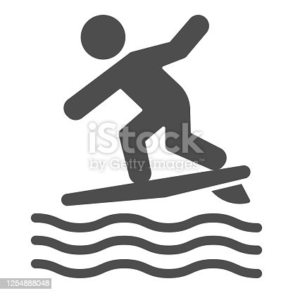 istock Surfing solid icon, Summer water sport concept, Surfer and waves sign on white background, Man surfing on surfboard icon in glyph style for mobile concept and web design. Vector graphics. 1254888048