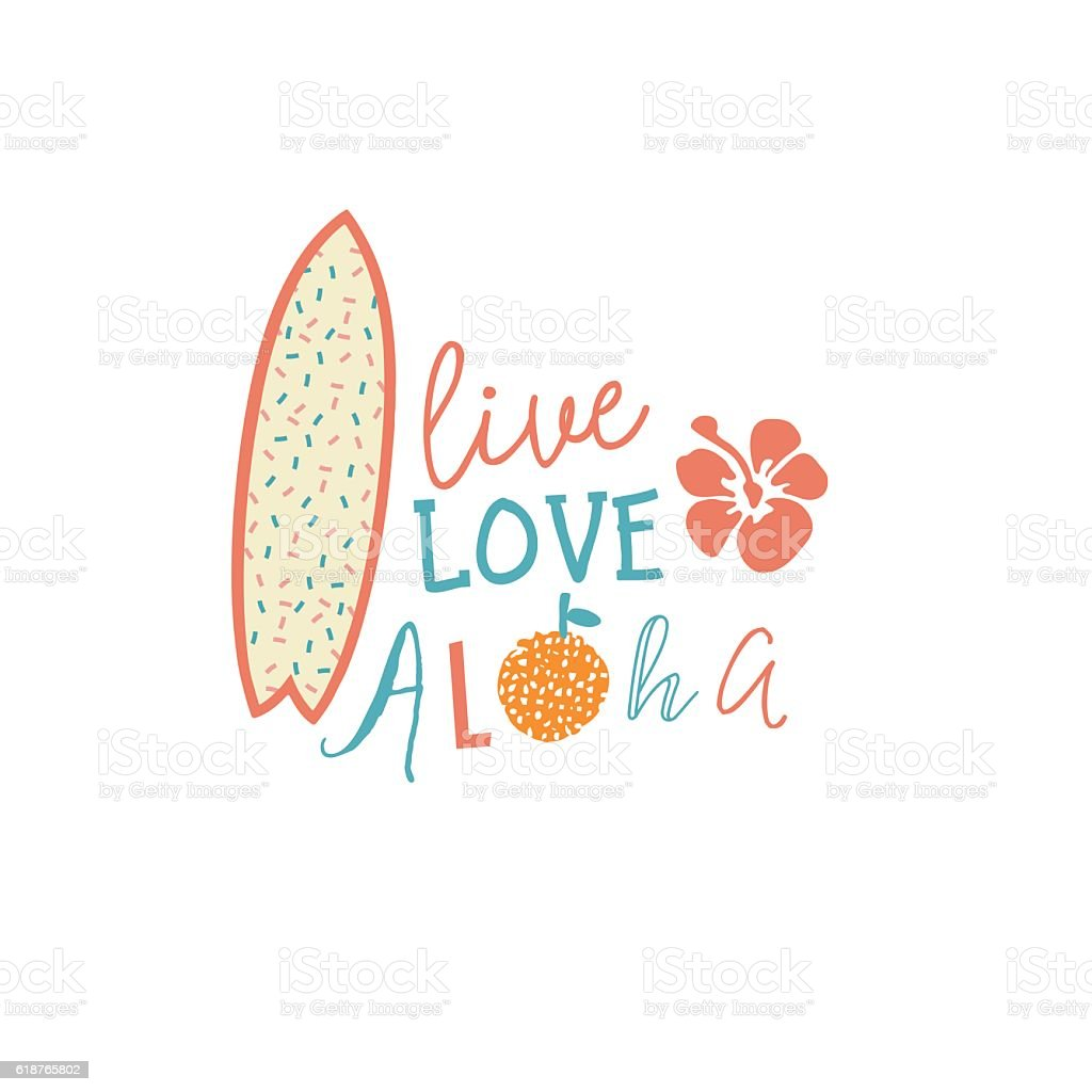 Surfing Summer Emblem With Text Quote Surfboard And Hibiscus Flower