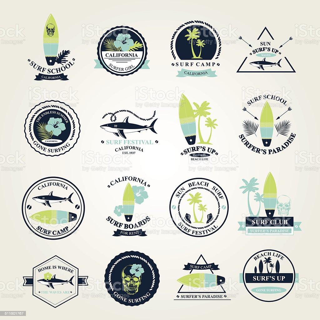 Surfing summer icons. vector art illustration