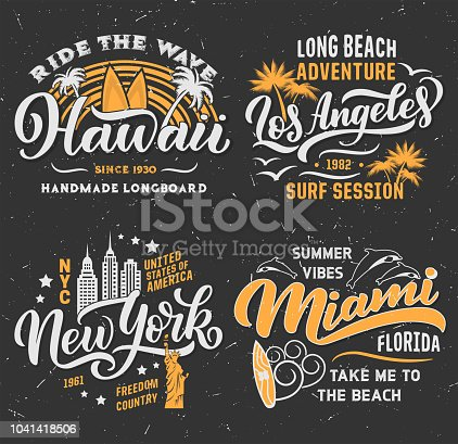 Surfing adventure club t-shirt design. Hawaii, Los Angeles in California or Miami and New York city. Vector retro design of surfer surfboard, water waves or summer palm beach and dolphins