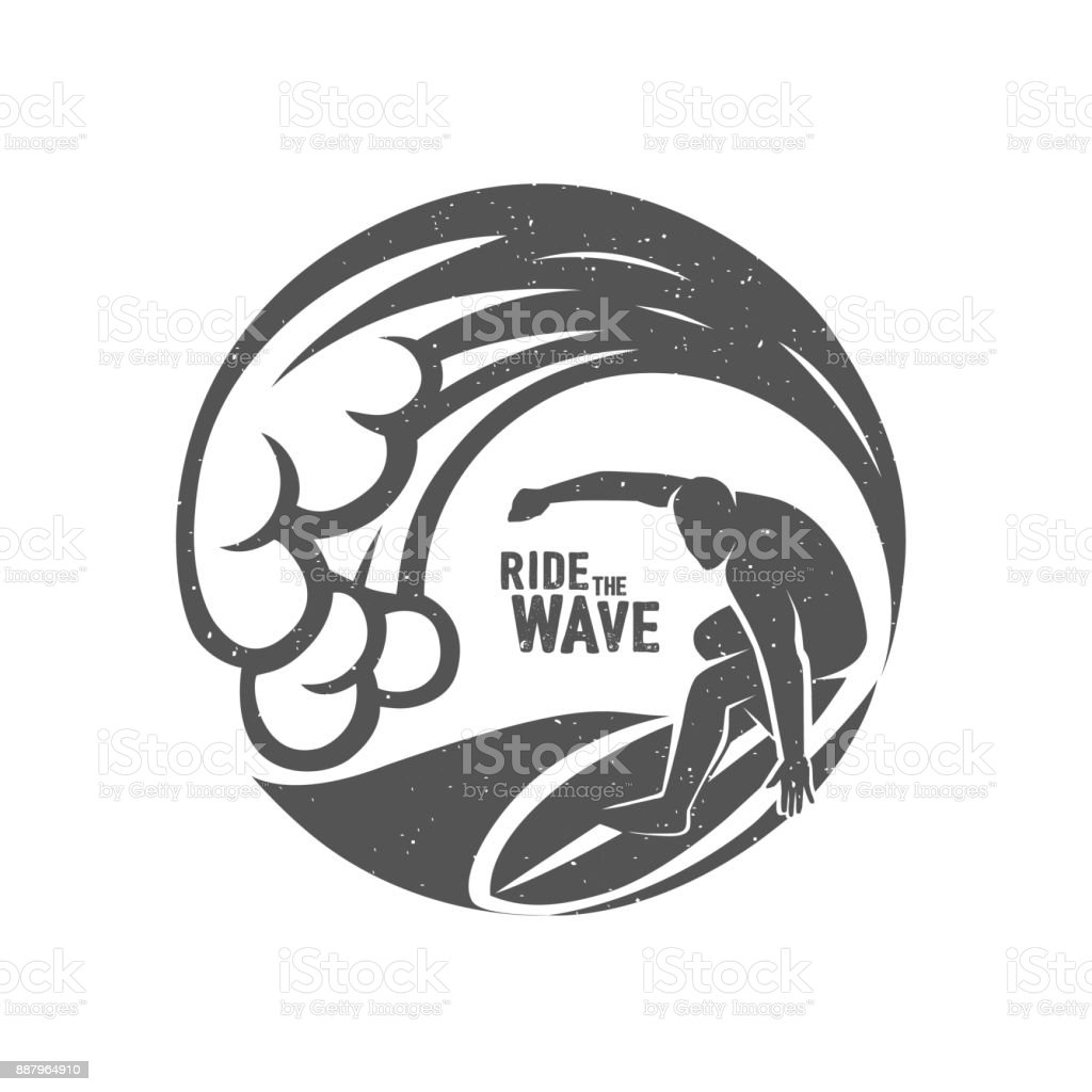 Surfing Symbols. Ride the wave. Surf rider. vector art illustration