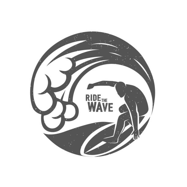 Surfing Symbols. Ride the wave. Surf rider. Vector graphic illustration. surf stock illustrations