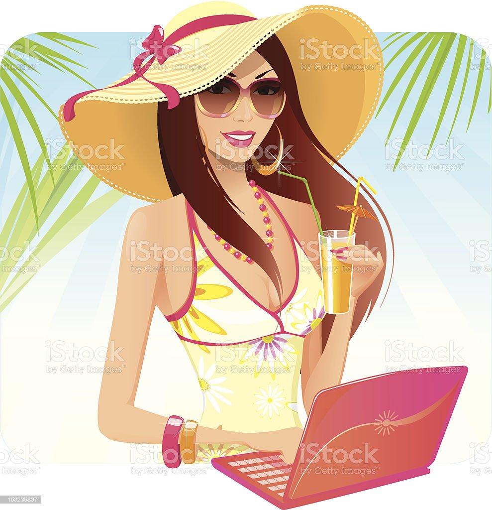Surfing the net vector art illustration