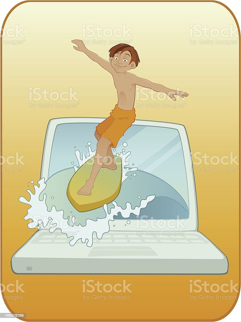 Surfing the Net vector art illustration