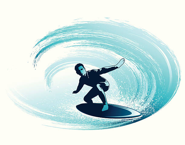 Surfing the tube vector art illustration