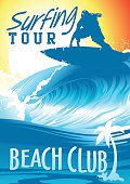 Surfing Tour Beach Club with surfer on wave