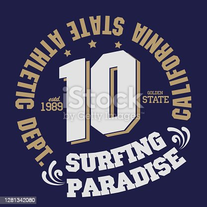 Surfing t-shirt graphic print design. California surfers wear typography
