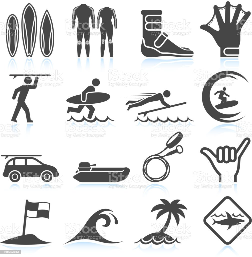 Surfing Vacation black & white royalty free vector icon set royalty-free stock vector art