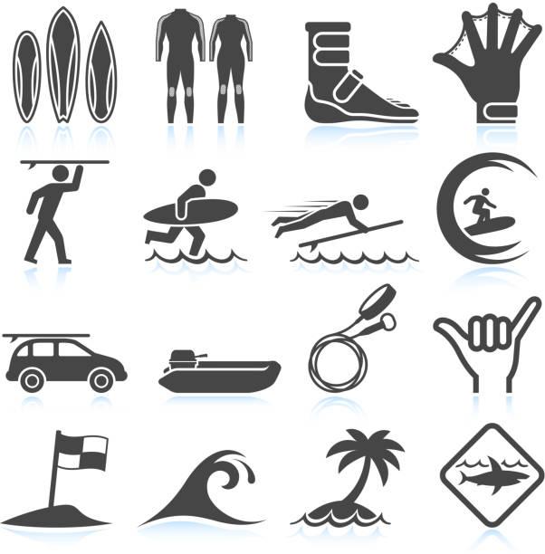 サーフィンバケーションブラック&ホワイトのロイヤリティフリーのベクターアイコンセット - サーフィン点のイラスト素材/クリップアート素材/マンガ素材/アイコン素材