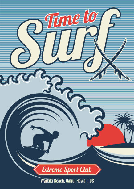 Surfing vector hawaii t-shirt vector vintage design vector art illustration