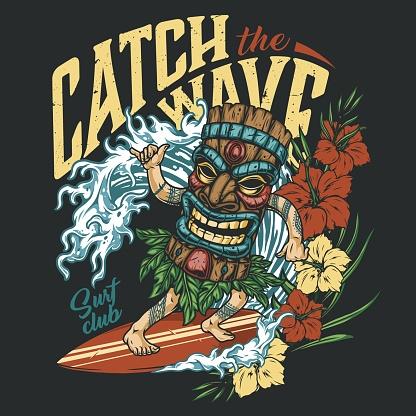 Surfing vintage colorful emblem