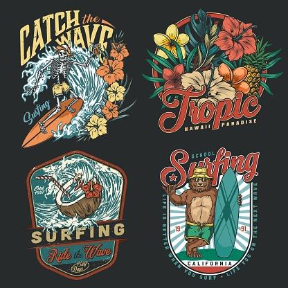Surfing vintage colorful emblems
