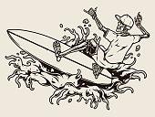 istock Surfing vintage concept 1302791156