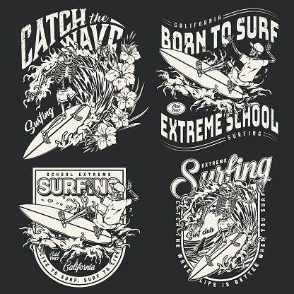 Surfing vintage monochrome emblems