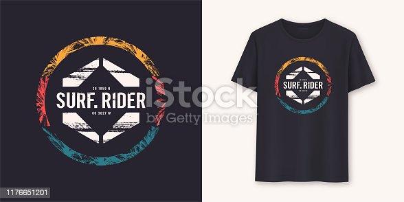Surfrider stylish graphic tee vector design, print.