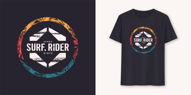Surfrider stylish graphic tee vector design, print Surfrider stylish graphic tee vector design, print. fashion stock illustrations