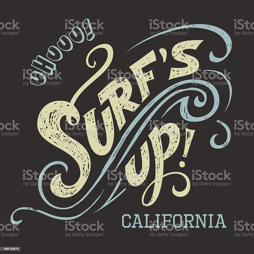 Surf's up hand-lettering tee vector art illustration