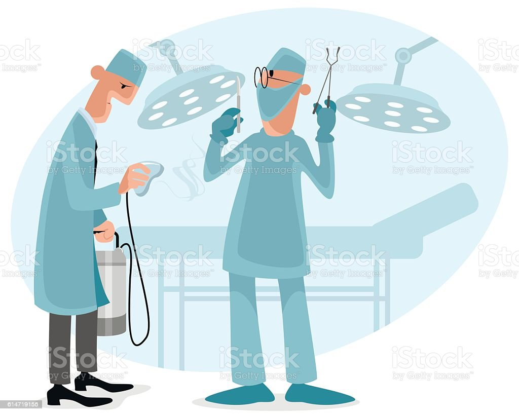 Surgeon and anesthetist vector art illustration