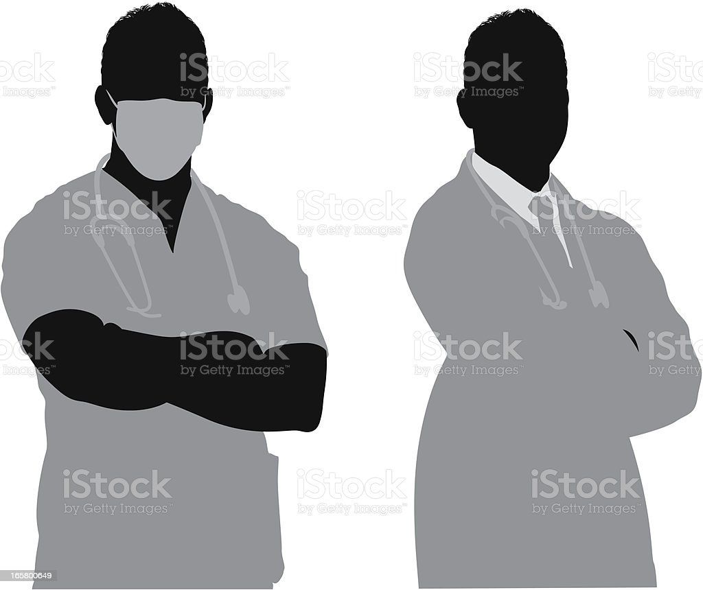 Surgeon and doctor vector art illustration