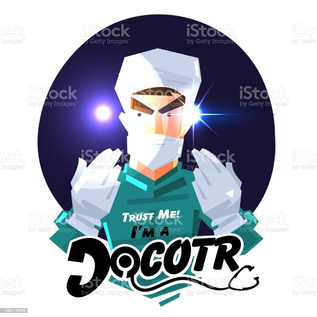Surgeon Doctor Or Doctor Showing His Hand To Trust Hime Career Logo Concept Typographic Design Vector Stock Illustration Download Image Now Istock