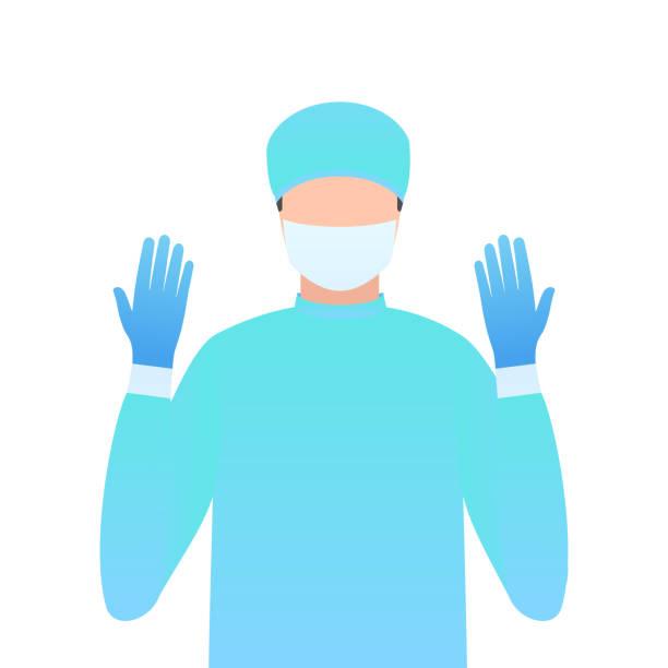 illustrazioni stock, clip art, cartoni animati e icone di tendenza di surgeon in gloves and a mask - mask surgery