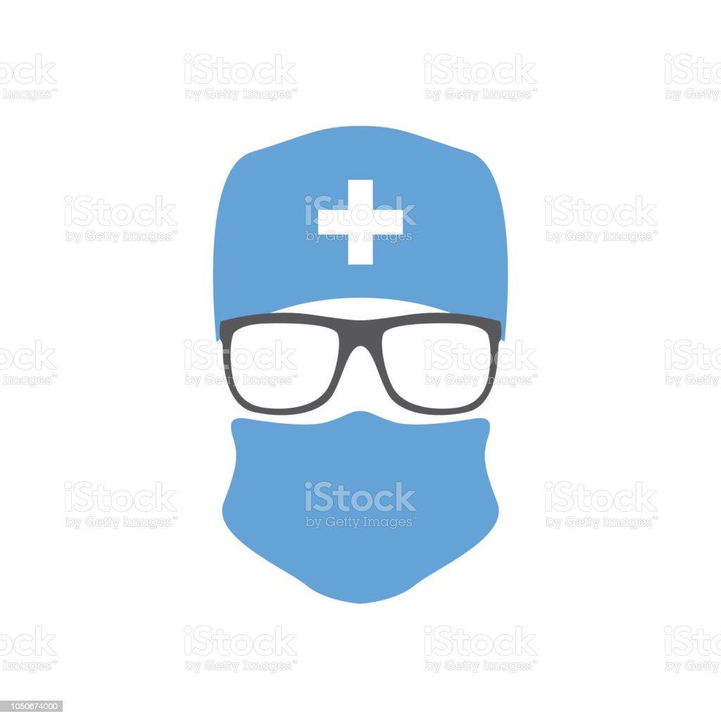 Ilustración de Cirujano En Sombrero Máscara Y Gafas Icono De Médico ... 635f7284b3b
