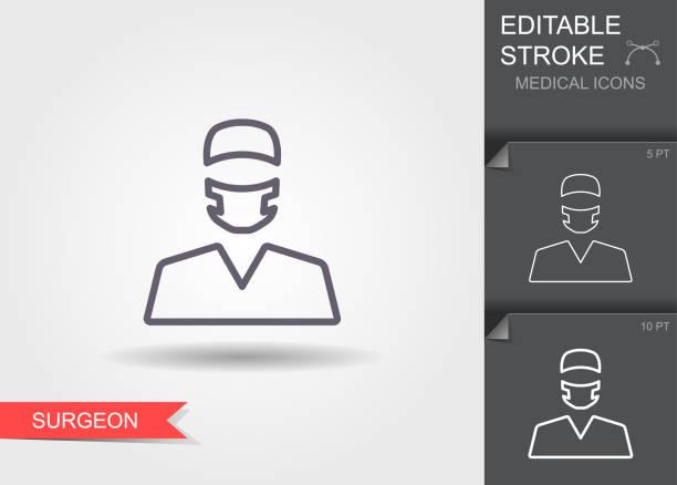 外科 醫生。帶陰影的可編輯描邊線性醫療符號 - surgeon 幅插畫檔、美工圖案、卡通及圖標