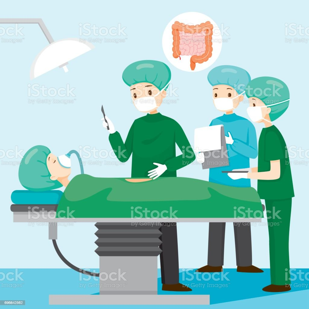 Surgeon Operate On Appendicitis Patient vector art illustration