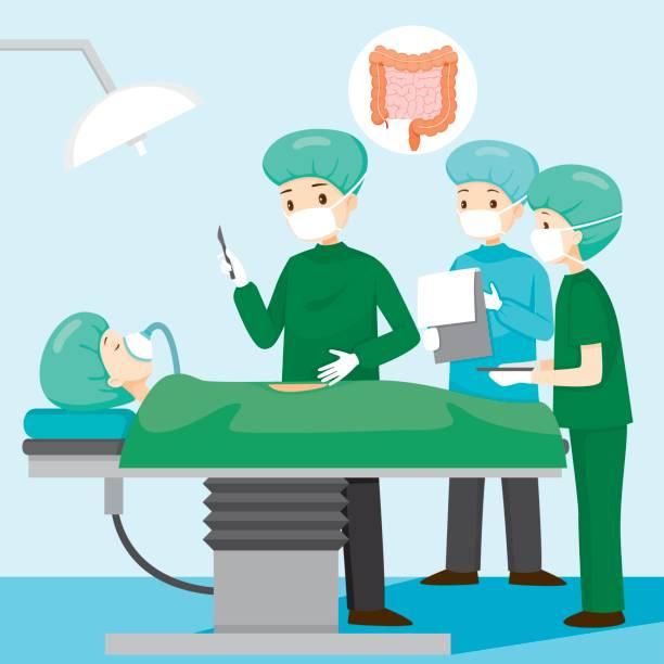 Surgeon Operate On Appendicitis Patient vector art illustration