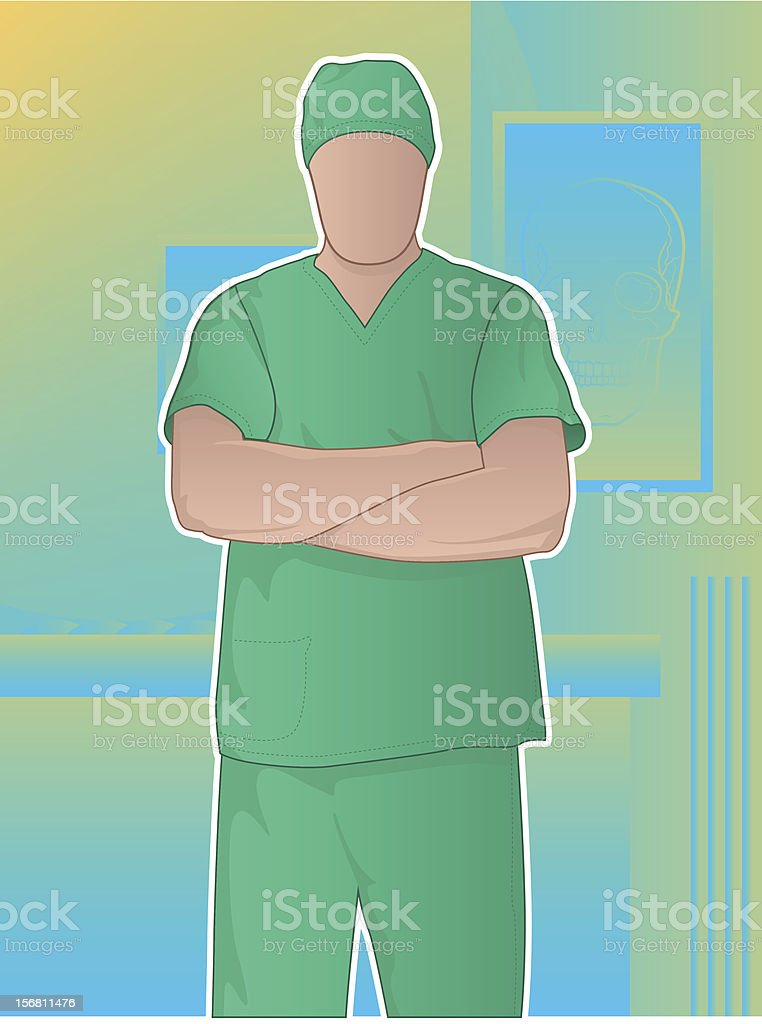 Surgeon with Arms Crossed royalty-free stock vector art