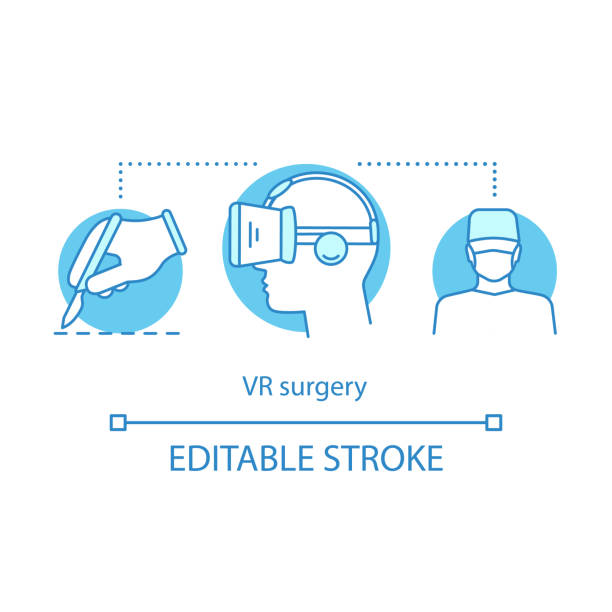 vr surgery concept icon - medical technology stock illustrations