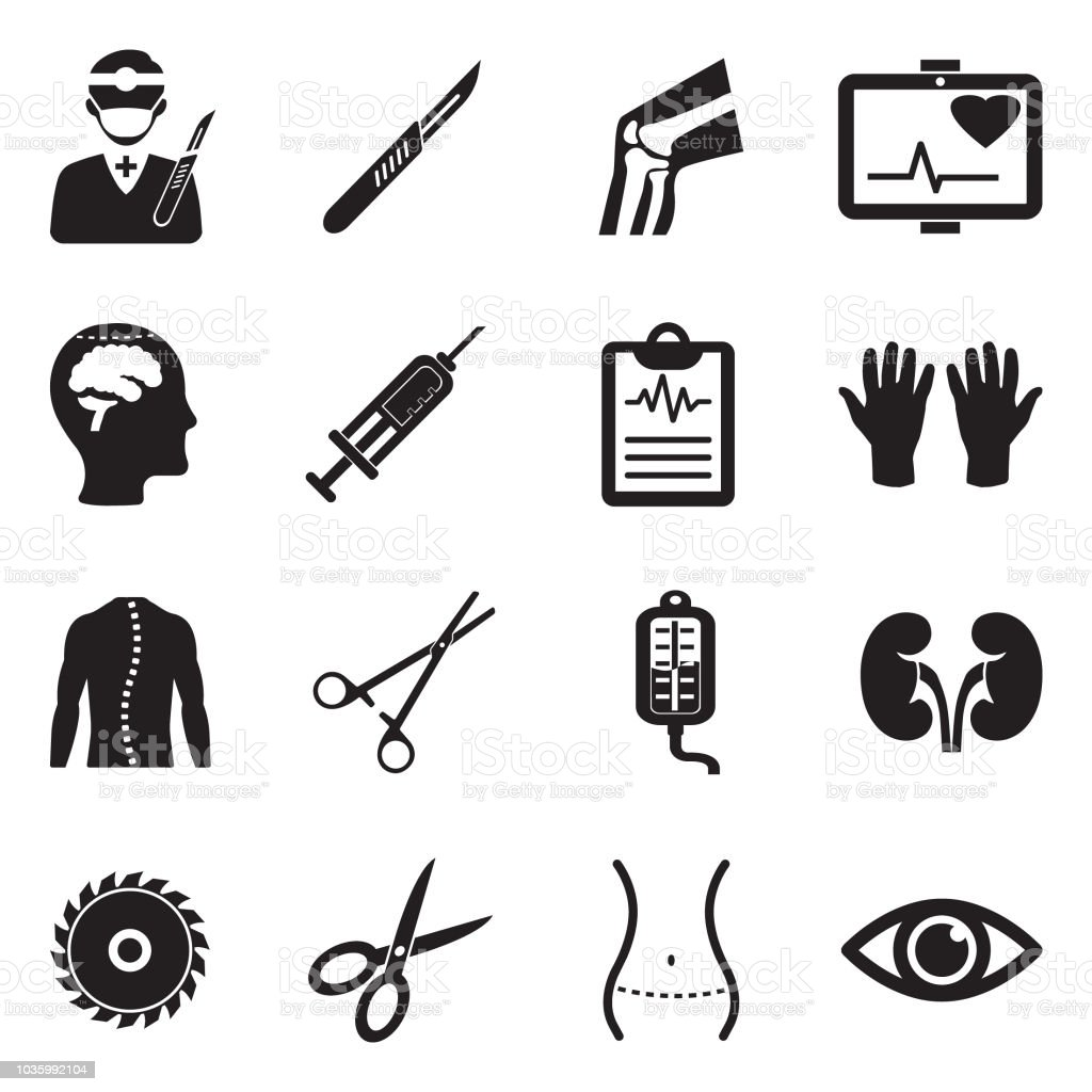 Surgery Icons. Black Flat Design. Vector Illustration.