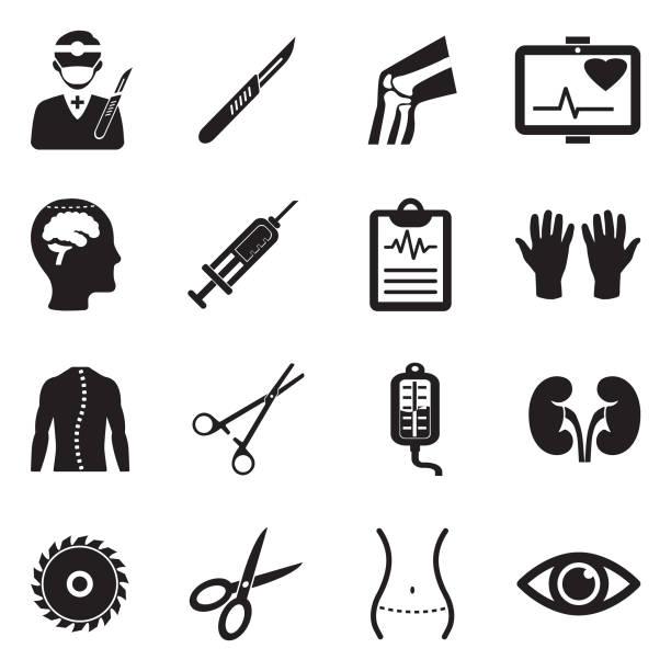 surgery icons. black flat design. vector illustration. - surgeon stock illustrations, clip art, cartoons, & icons