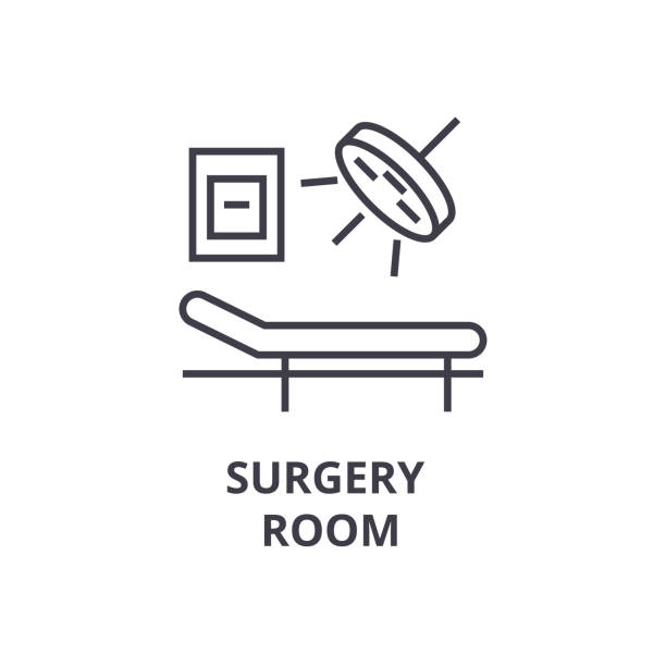 surgery room thin line icon, sign, symbol, illustation, linear concept, vector vector art illustration