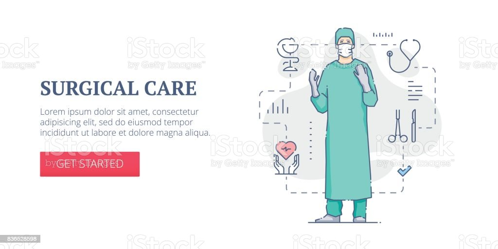 Surgical care web banner vector art illustration