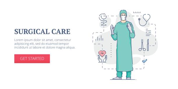 Surgical care web banner vector art illustration