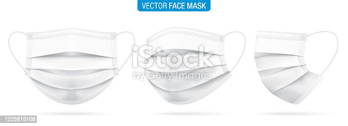 Surgical face mask vector illustration. White medical protective masks from different angles, isolated on white. Corona virus protection mask with ear loop, in a front, three-quarters, and side views.