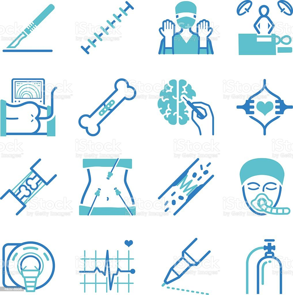 Surgical icons set vector art illustration