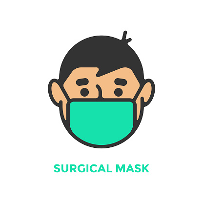 Surgical Mask Icon. Man with Medical Mask and Protective Medical Mask Vector Design.