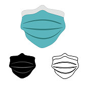 Surgical mask to fight the coronavirus. Medical mask for covid19 protection. Safety mask icon vector.