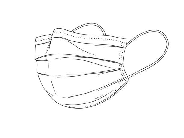 illustrazioni stock, clip art, cartoni animati e icone di tendenza di chirurgica, maschera medica del volto che protegge le malattie aerotrasportose, virus. coronavirus. difesa dall'inquinamento atmosferico. illustrazione vettoriale in stile schizzo. - mask surgery