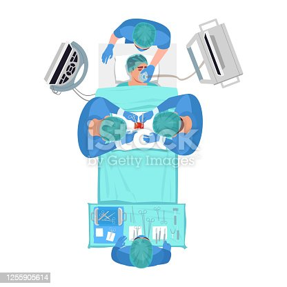 istock Surgical procedure semi flat RGB color vector illustration 1255905614