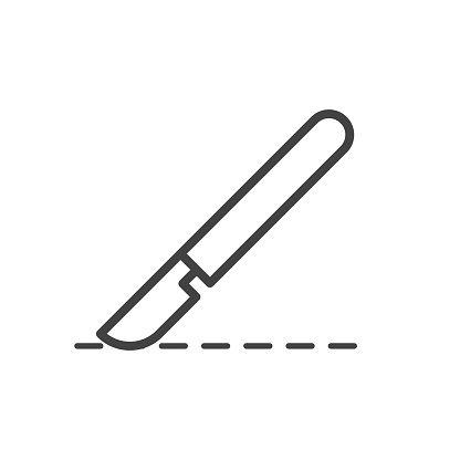 Surgical scalpel outline icon. Medicine and healthcare, medical support sign. Vector illustration.