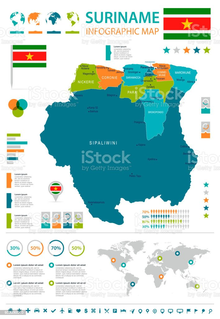 Surinam World Map.Suriname Infographic Map And Flag Detailed Vector Illustration Stock
