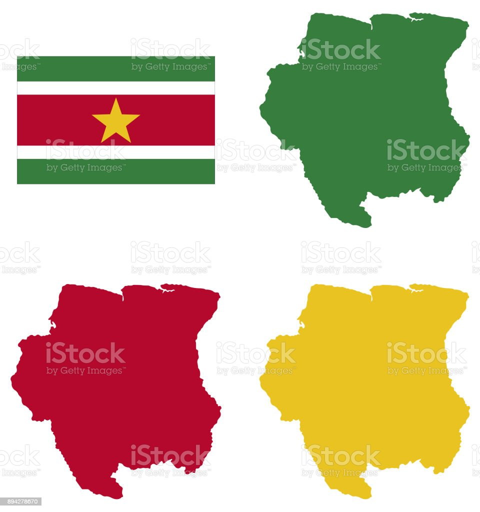 Suriname Map And Flag Stock Vector Art IStock - paramaribo map