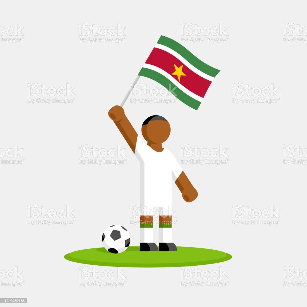 Suriname Fussballspieler Im Kit Mit Fahne Und Ball Stock