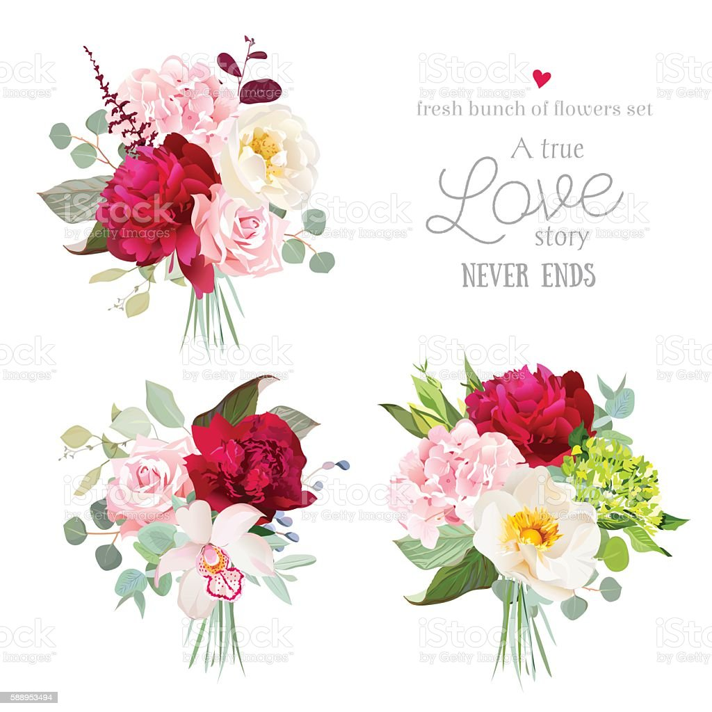 Surprise bouquets of rose, peony, hydrangea, orchid vector art illustration