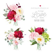 Surprise bouquets of rose, peony, hydrangea, orchid