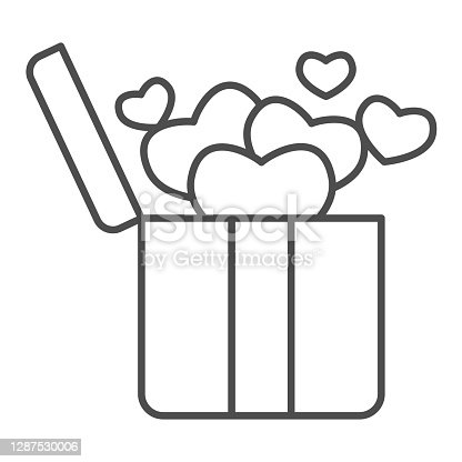 istock Surprise box with hearts thin line icon, valentine day concept, open box with heart sign on white background, gift to loved one icon in outline style for mobile concept. Vector graphics. 1287530006