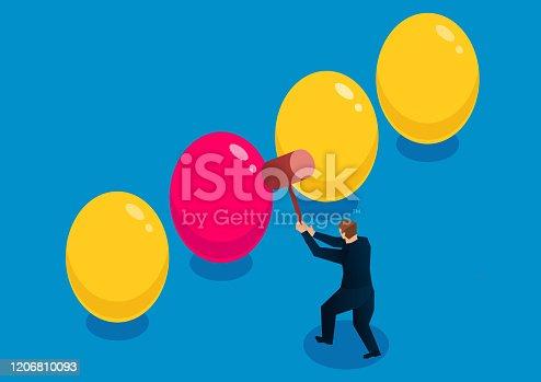 Surprise, businessman smashed a different egg